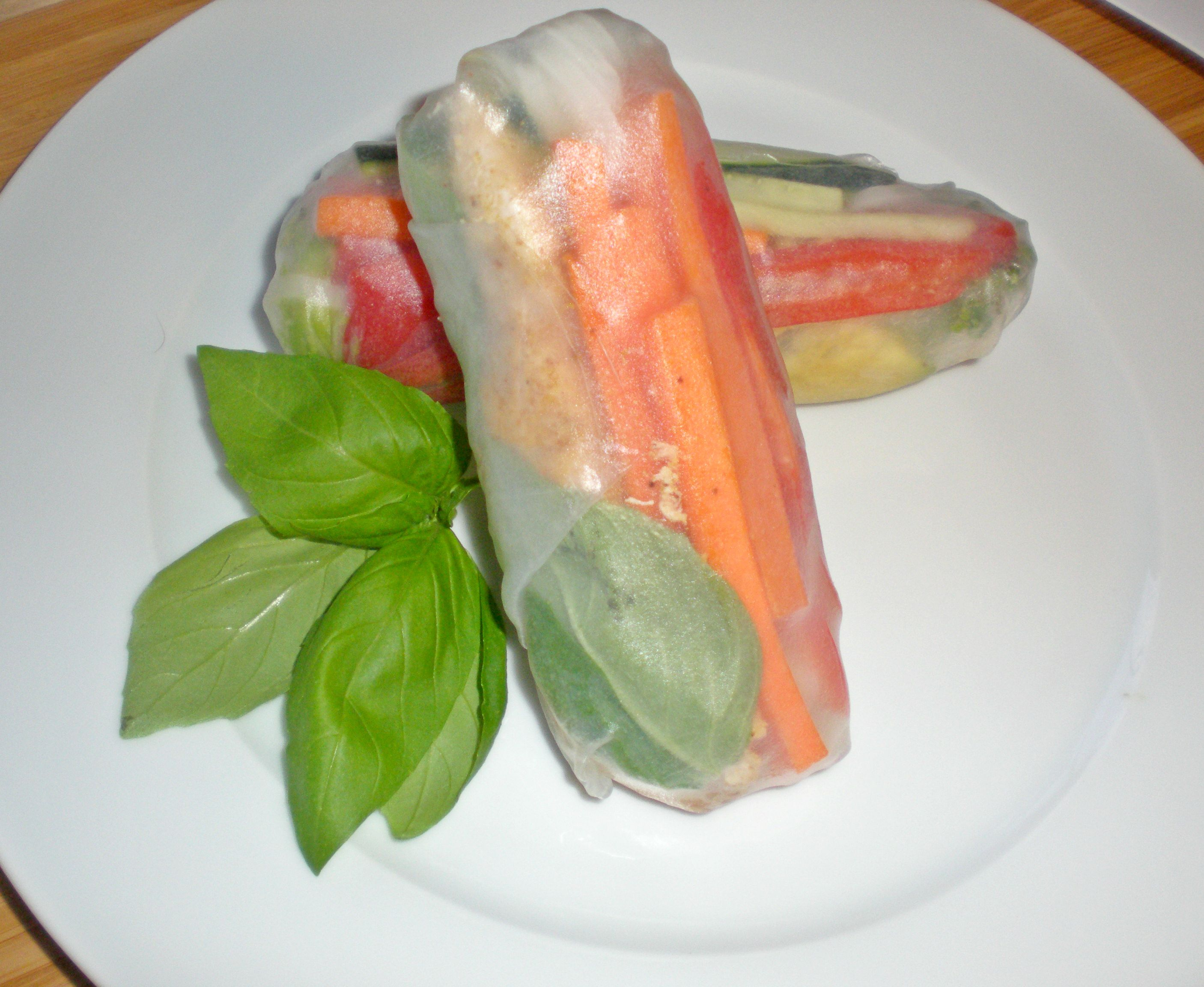 Spring Rolls with Chicken, Veggies, and Maple Almond Butter Sauce
