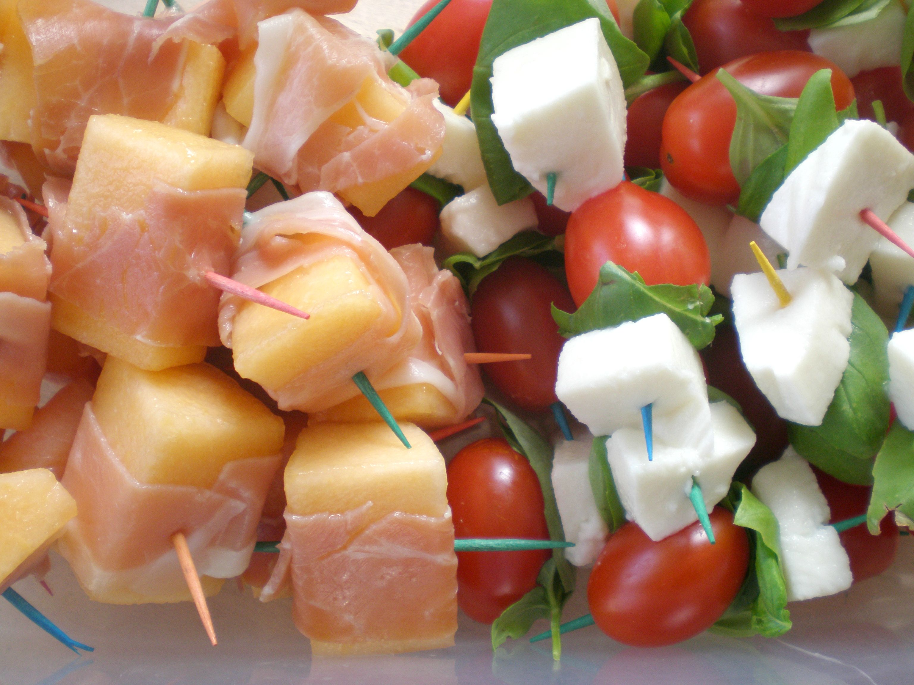Caprese & Proscuitto Wrapped Melon Skewers