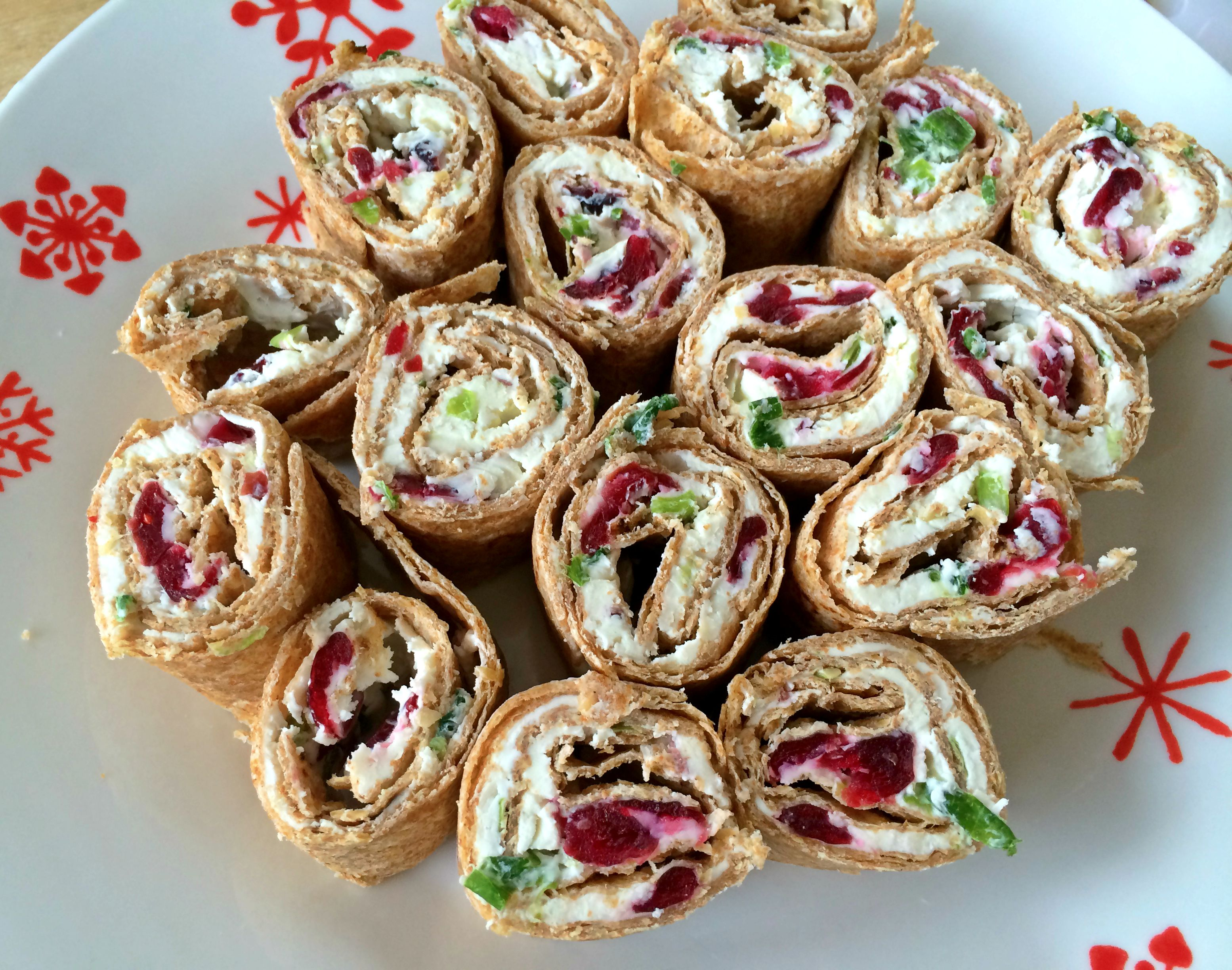 Cranberry, Feta, and Green Onion Pinwheels
