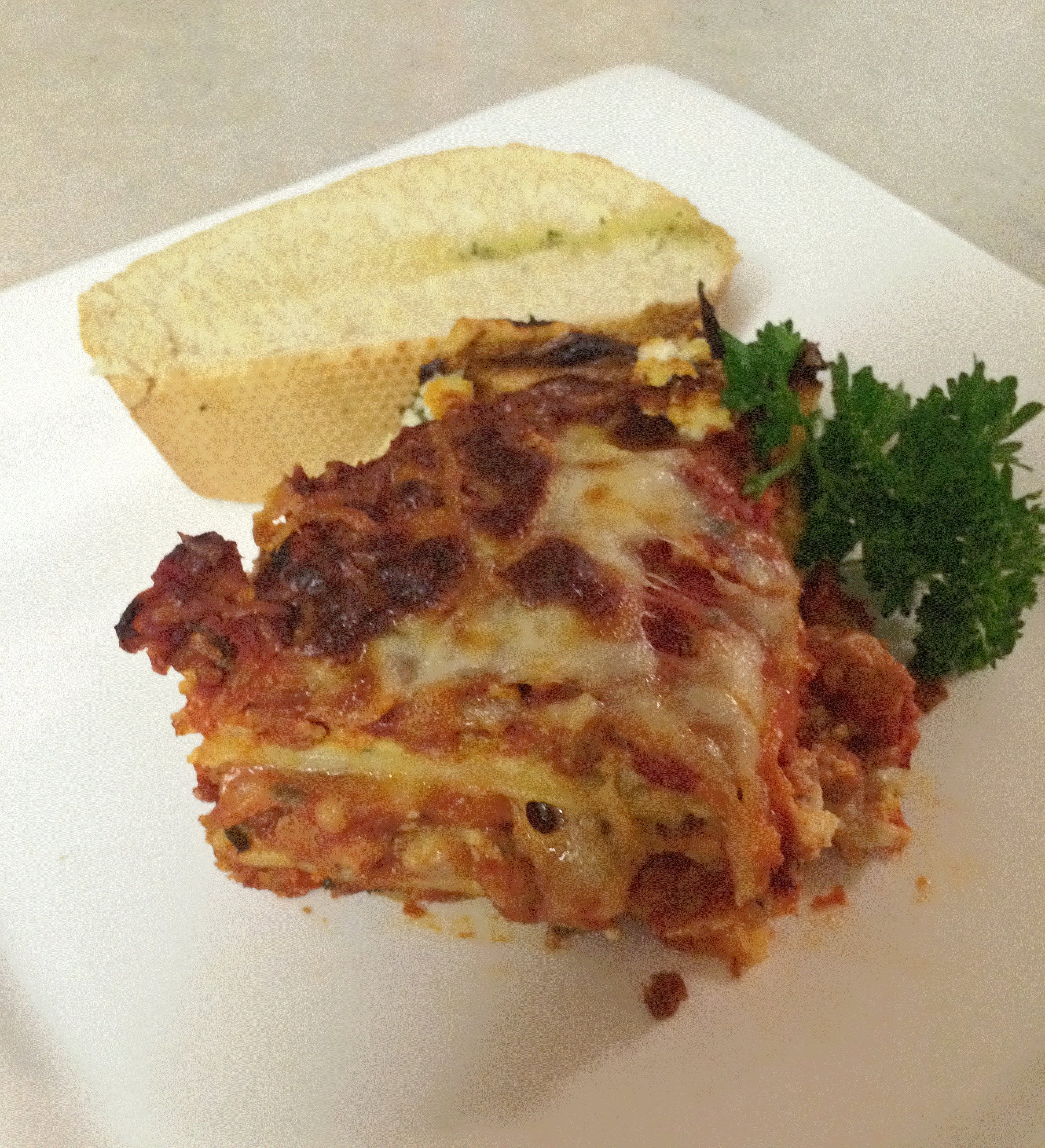 Four Cheese Lasagna with Spicy Italian Sausage (gf)