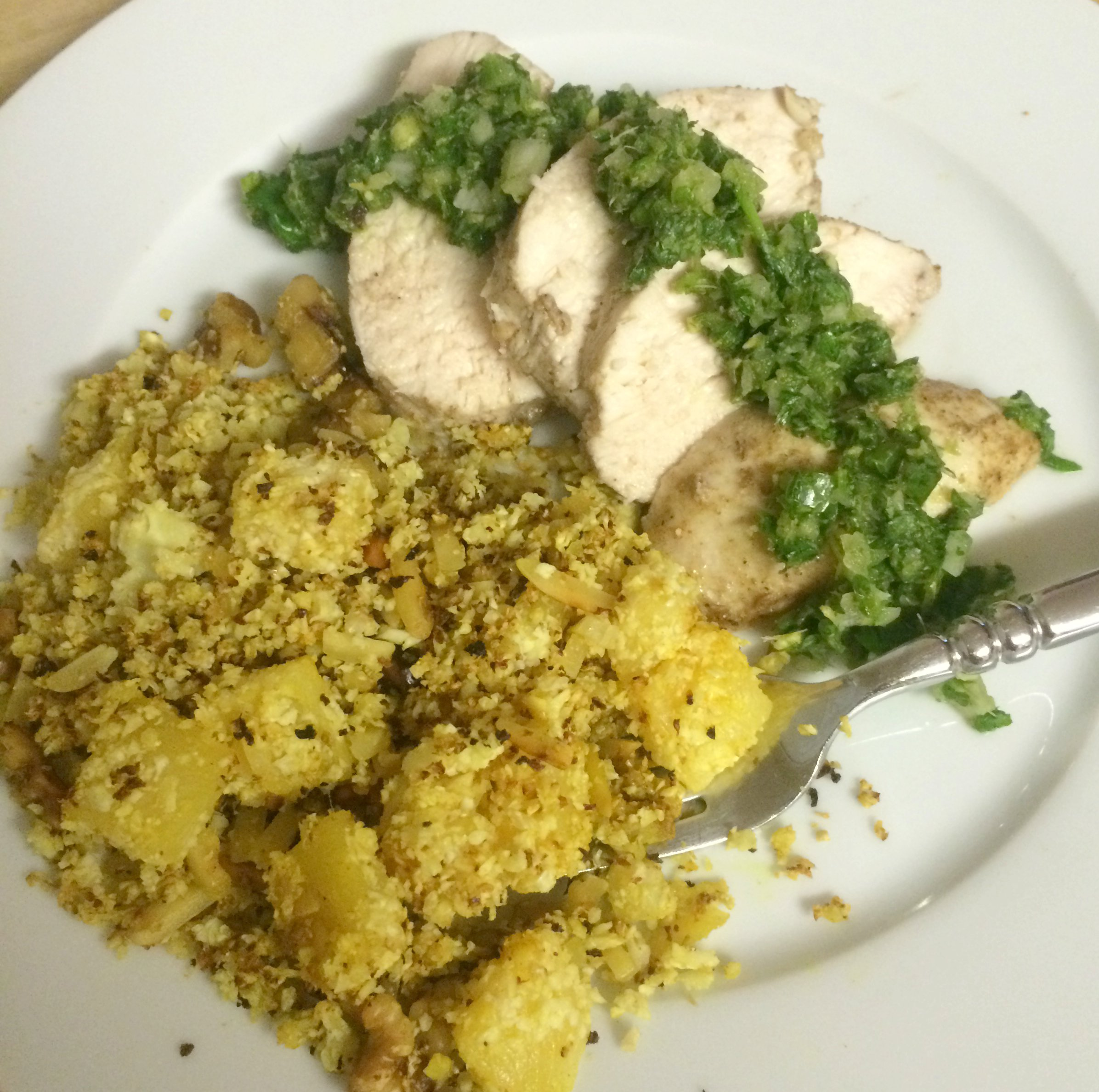 Indian Style Chicken with Mint Chutney and Curried Pineapple Cauliflower Rice