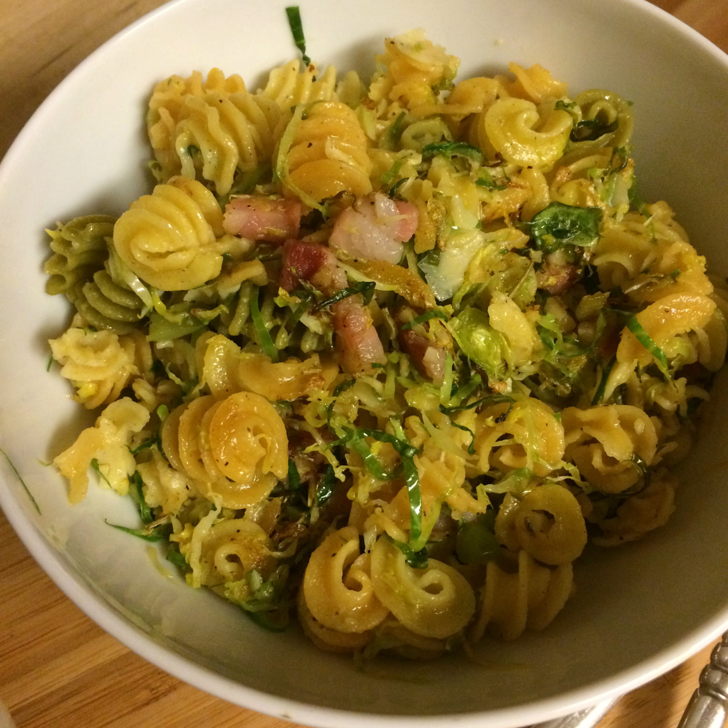 Pasta with Spicy Brussels Sprouts and Pancetta