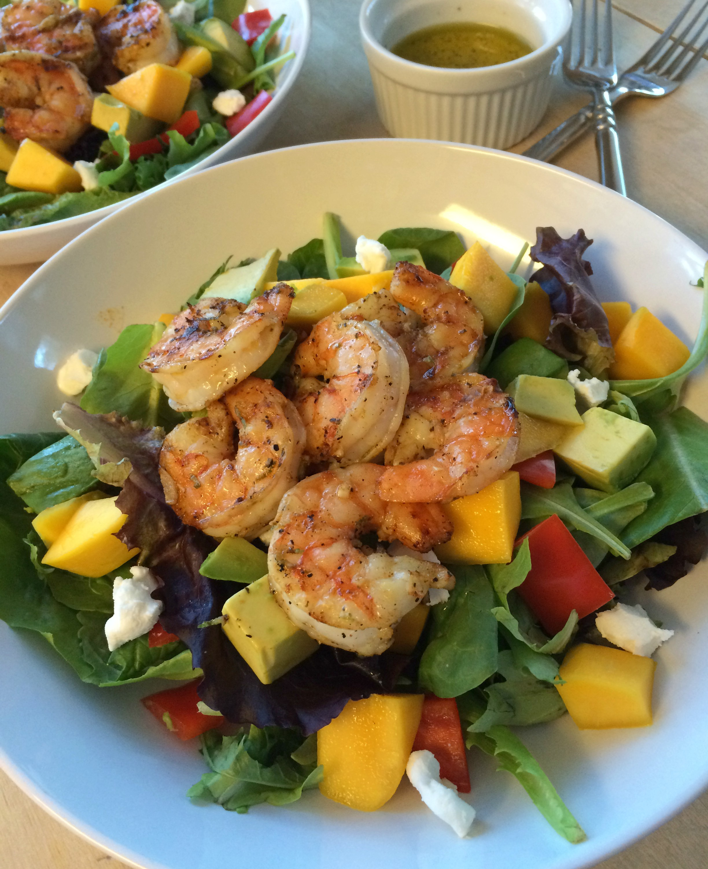 Grilled Chili Lime Shrimp, Mango, and Goat Cheese Salad