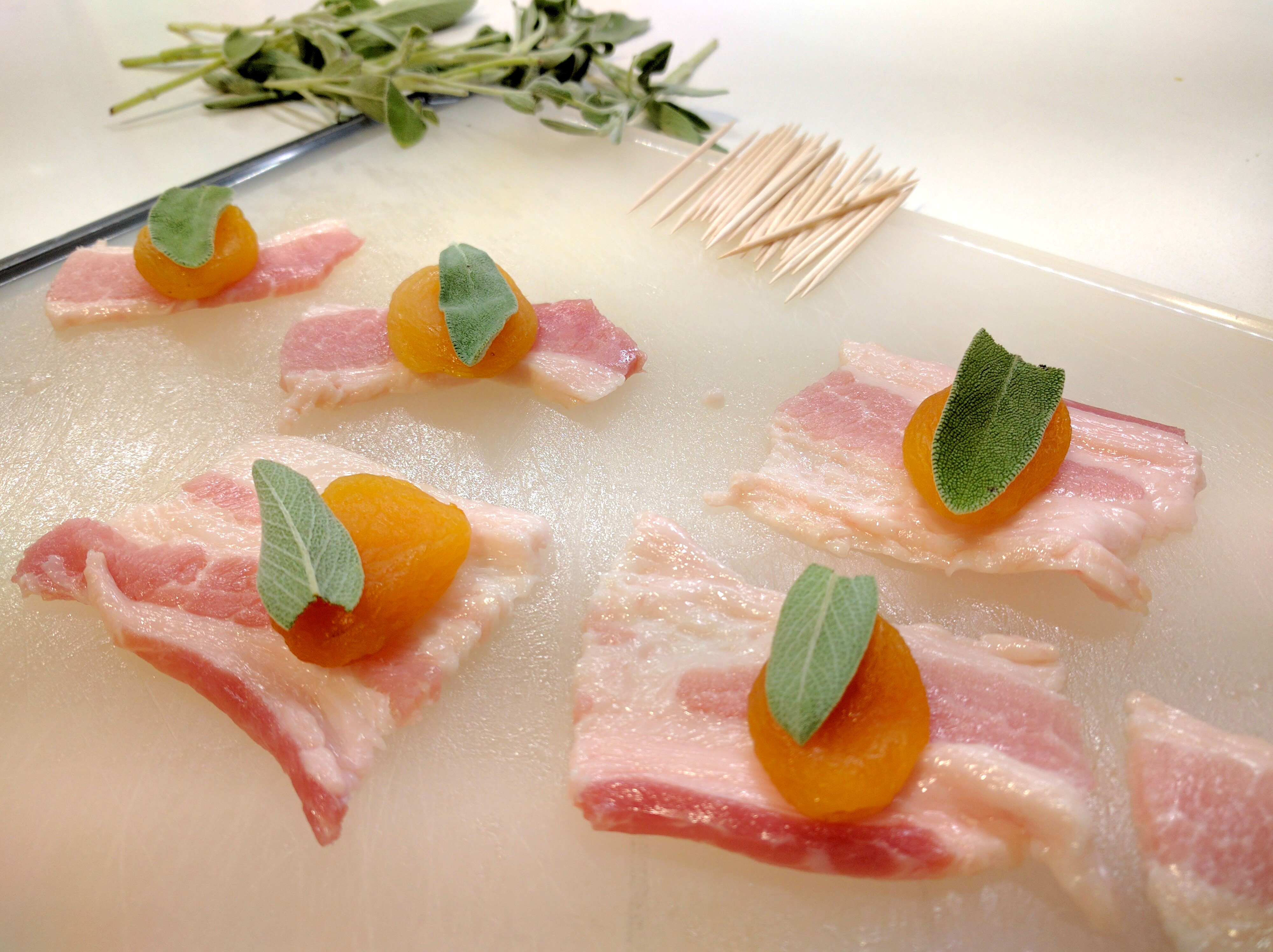 Bacon Wrapped Apricots with Sage