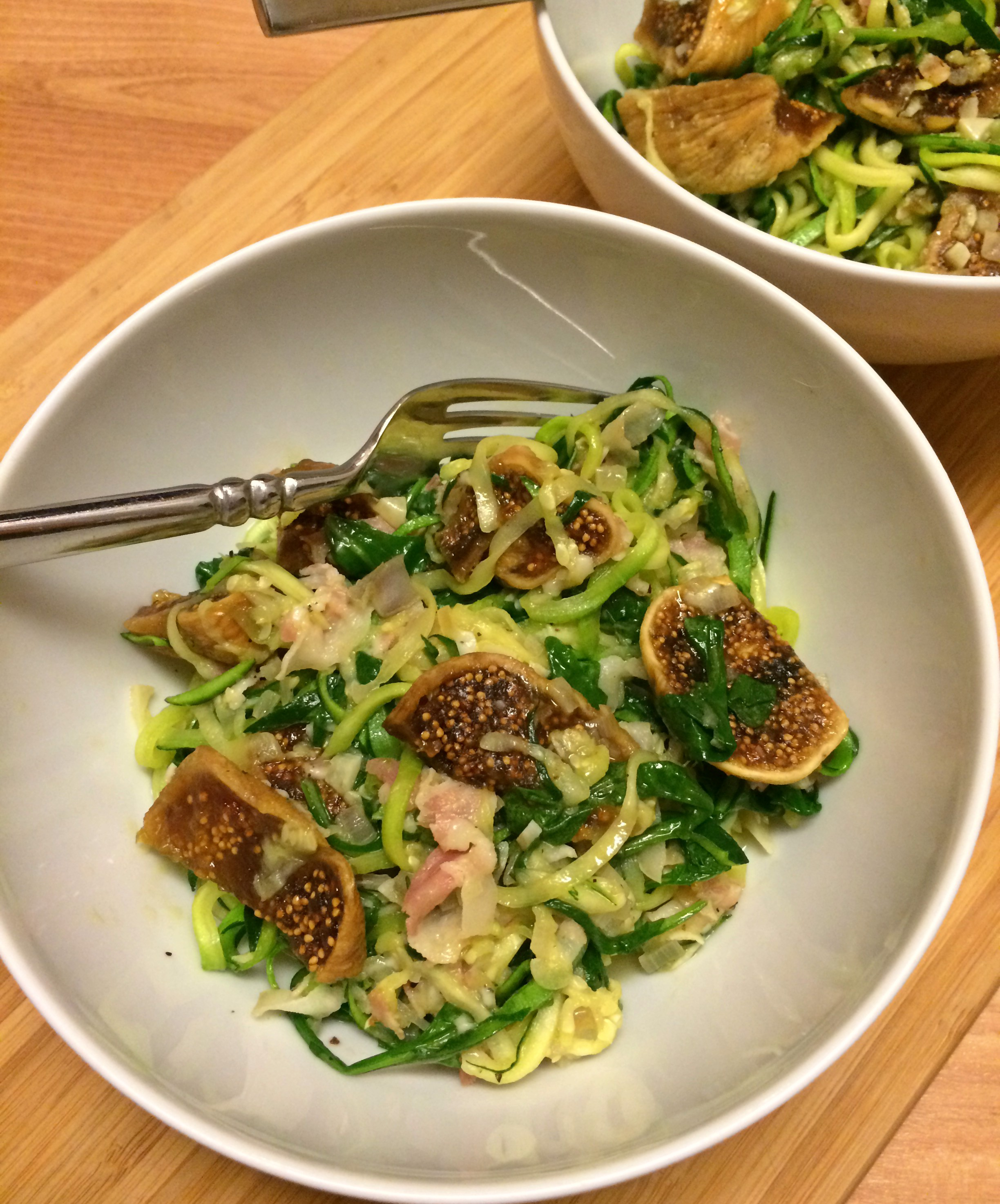Zoodles with Pancetta, Fig, and Arugula