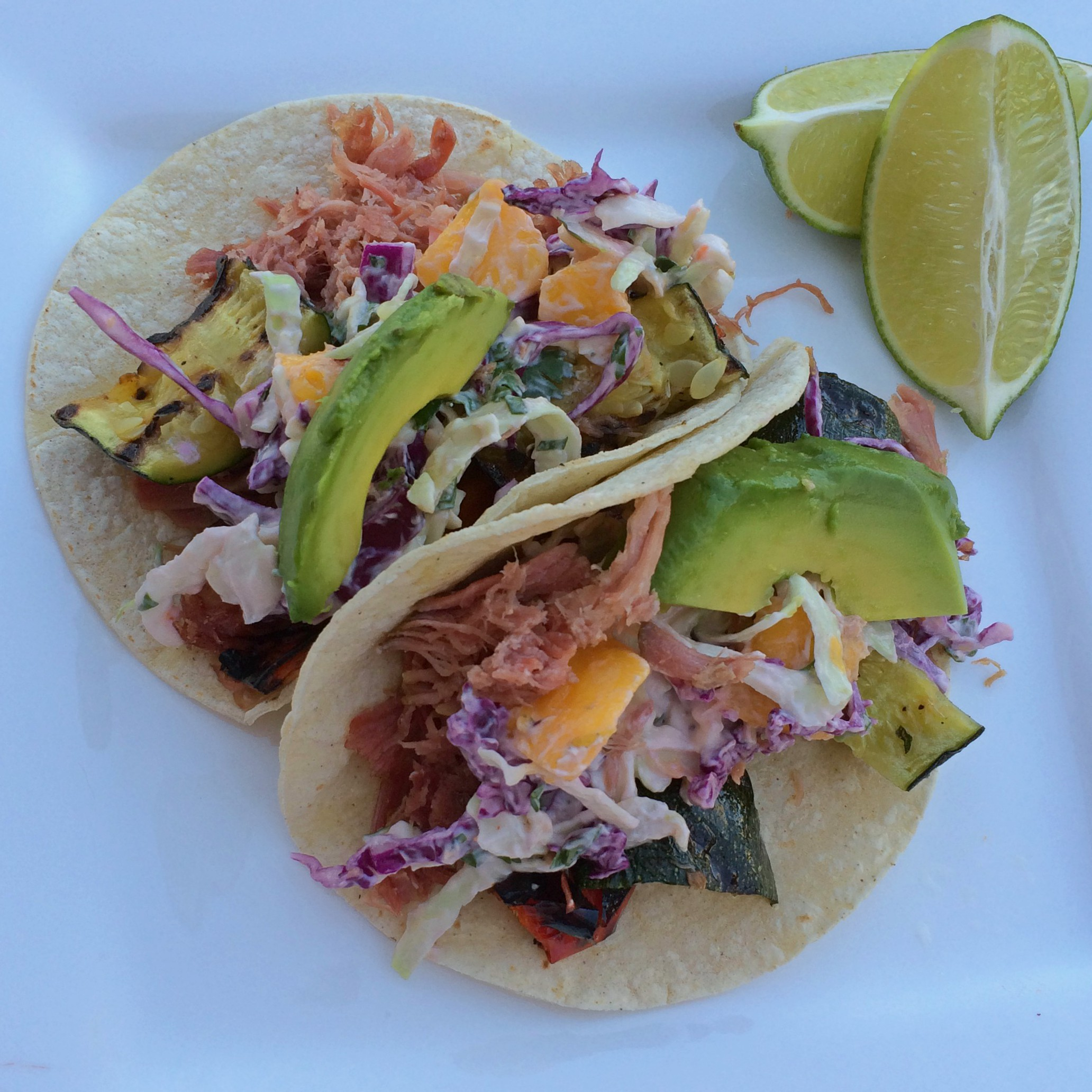 Pulled Pork and Veggie Tacos with Spicy Mango Slaw