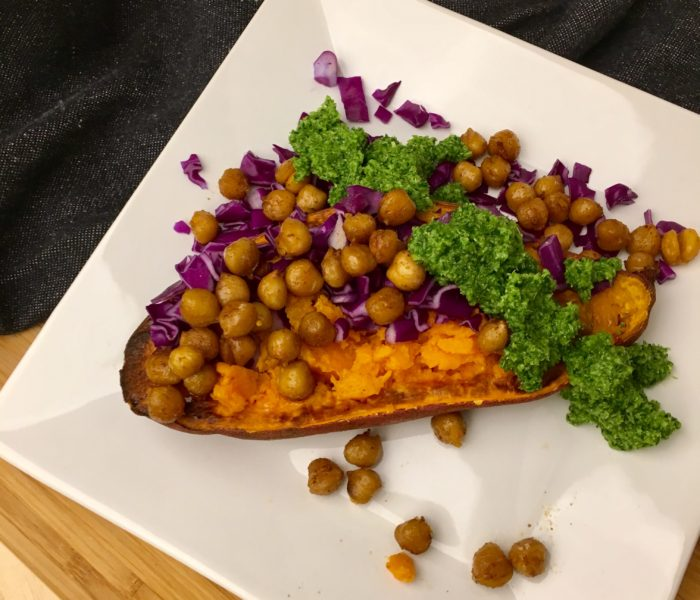 Roasted Sweet Potatoes with Chili Garbanzo Beans and Broccoli Spinach Pesto