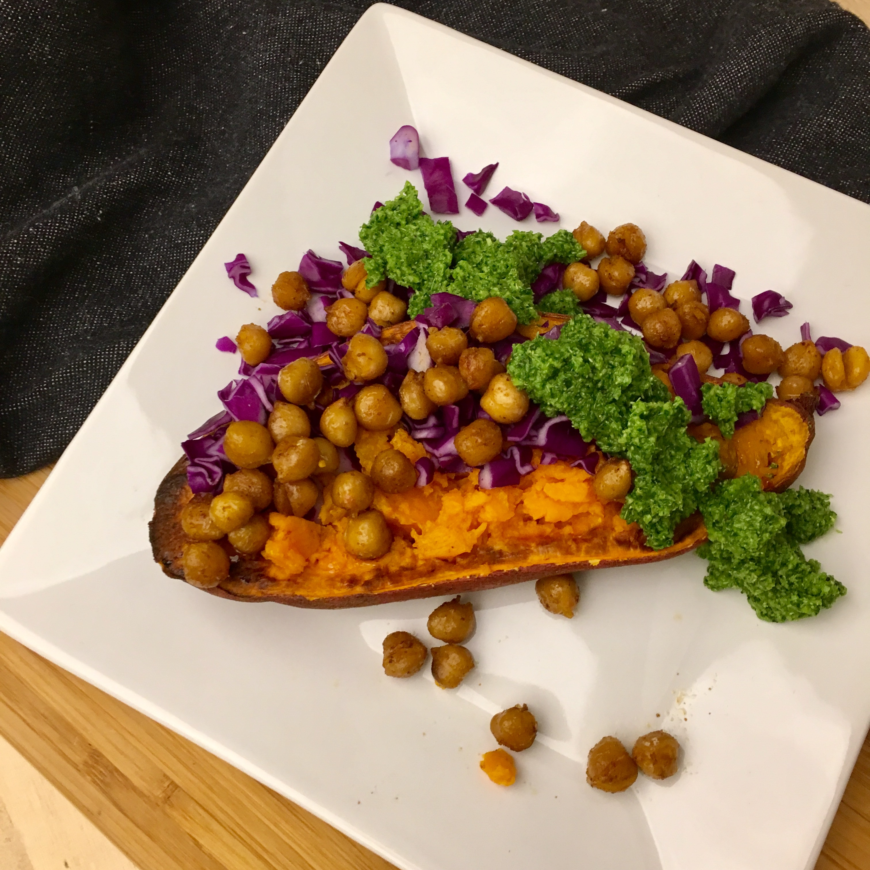 Roasted Sweet Potatoes with Chili Garbanzo Beans and ...